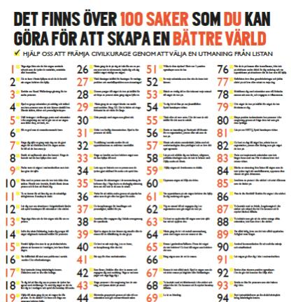 100-listan 100 sätt att göra skillnad