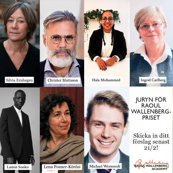 Collage av jurymedlemmar med namnskyltar